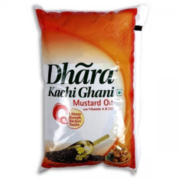 Dhara mustard oil 1ltr pouch